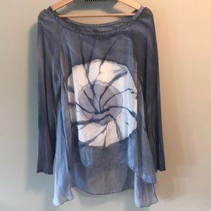 Tie dye cotton/silk blue grey floaty top